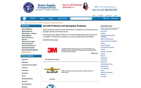 Screenshot of Products Page gracosupply.com - Graco Supply - Aircraft and Aerospace Products, Manufacturers - captured Sept. 30, 2014