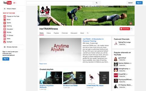 Screenshot of YouTube Page youtube.com - inerTRAINfitness  - YouTube - captured Oct. 23, 2014
