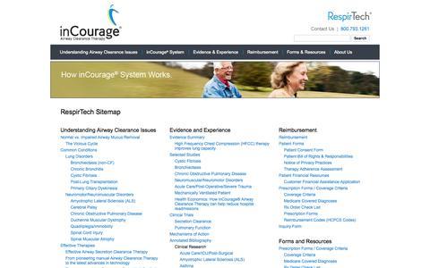 Screenshot of Site Map Page respirtech.com - RespirTech Sitemap - captured Sept. 17, 2014