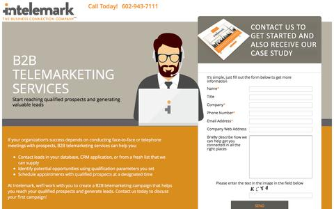 Screenshot of Landing Page intelemark.com - B2B Telemarketing Services | Intelemark - captured Oct. 20, 2016