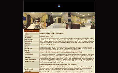 Screenshot of FAQ Page manorparkhuahin.com - FAQ's - captured Feb. 4, 2016