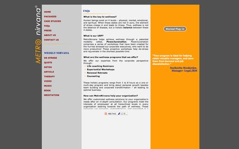 Screenshot of FAQ Page metronirvana.com - Metro Nirvana- Holistic Wellness Solutions - captured Oct. 27, 2014