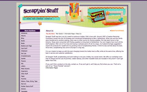 Screenshot of About Page scrappinstuff.ch - About Us > 			Information Pages > 			Main Section > 		Scrappin Stuff Scrapbooking and Cards - captured April 10, 2017