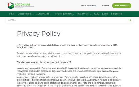 Screenshot of Privacy Page adiconsum.it - Informativa sul trattamento dei dati personali | Adiconsum - captured Sept. 24, 2018