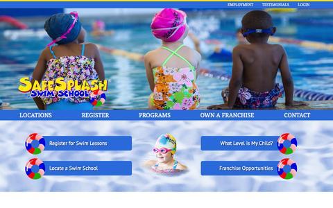 Screenshot of Home Page safesplash.com - SafeSplash Swim School   Swimming Lessons for Kids & Children Indoor Pool Classes   Swim Classes - captured Oct. 4, 2014