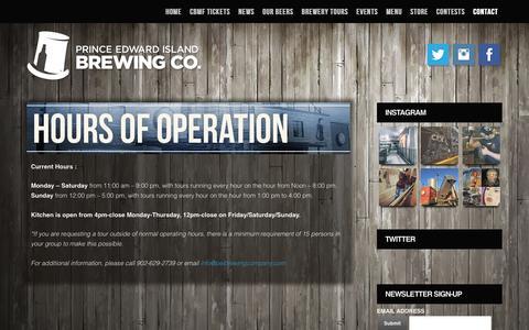 Screenshot of Hours Page peibrewingcompany.com - Hours of Operation » PEI Brewing Company - captured April 21, 2016