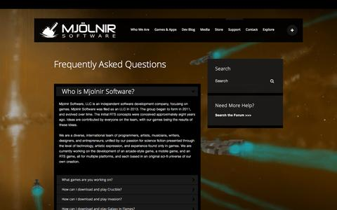 Screenshot of FAQ Page mjolnirsoftware.com - FAQ - Mjolnir Software - captured Feb. 21, 2016