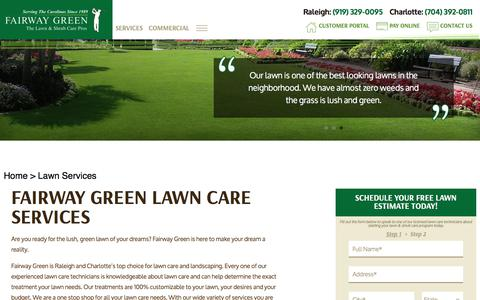 Screenshot of Services Page fairwaygreen.com - Lawn Care Services | Raleigh & Charlotte | Fairway Green - captured July 2, 2018