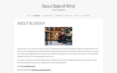 Screenshot of About Page seoulstateofmind.com - About Blogger    Seoul State of Mind - captured Oct. 30, 2014