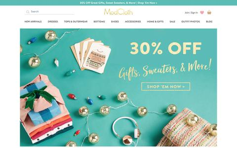 Screenshot of Home Page modcloth.com - Unique & Cute Clothes, Accessories & Decor | ModCloth - captured Dec. 3, 2015