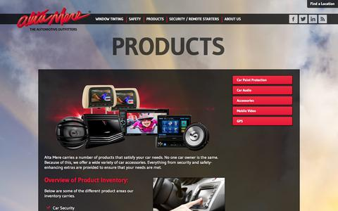 Screenshot of Products Page altamere.com - Quality automotive accessory products and installation | Alta Mere - captured Sept. 30, 2014