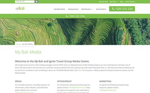 Screenshot of Press Page mybali.com.au - Media & Press | My Bali Ignite Travel Group Contact - captured Sept. 21, 2018