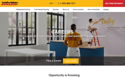 Screenshot of Jobs Page certapro.com - Careers - CertaPro Painters - captured Aug. 20, 2019