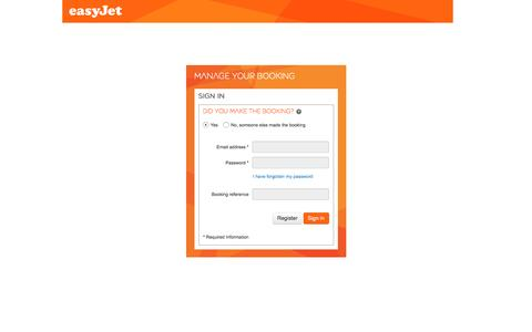 Screenshot of Login Page easyjet.com - Sign In - Manage bookings - easyJet.com - captured May 25, 2016