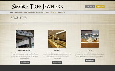 Screenshot of About Page smoketreejewelers.com - About Us | Men's Jewelry Palm Springs | Women's Jewelry - captured Oct. 26, 2014