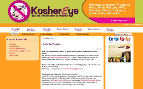 Screenshot of FAQ Page koshereye.com - Kosher FAQ for Foodies from Kosher Eye - captured May 20, 2016