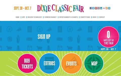 Screenshot of Signup Page dcfair.com - Dixie Classic Fair - captured Oct. 9, 2018