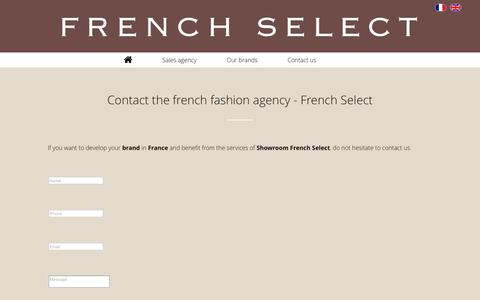 Screenshot of Contact Page french-select.com - French Select - Contact the french fashion agency - captured Aug. 4, 2016