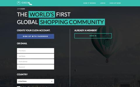 Screenshot of Signup Page cuzin.com - Join the Worlds First Global Shopping Family | CUZIN - Cuzin - captured July 3, 2015