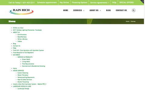 Screenshot of Site Map Page rainrich.com - Sitemap - Rain Rich Lawn Sprinklers & Landscape Lighting - captured Sept. 27, 2018