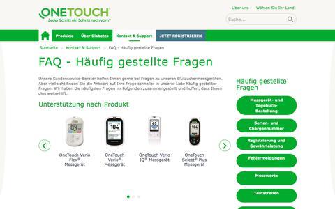 Screenshot of FAQ Page onetouch.de - FAQ - Häufig gestellte Fragen | OneTouch® - captured May 7, 2018