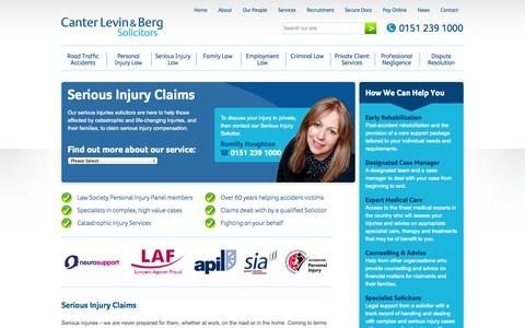 Screenshot of canter-law.co.uk - The Serious Injury Specialist Solicitors in Liverpool | CLB - captured Oct. 11, 2014