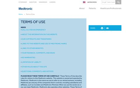 Screenshot of Terms Page medtronic.com - Website Terms of Use | Medtronic - captured July 4, 2016