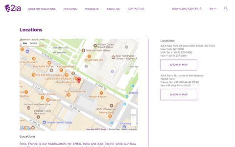 Screenshot of Locations Page a2ia.com - Locations | A2iA - captured Nov. 10, 2017