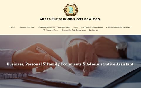 Screenshot of Home Page mintsofficeservices.com - Mint's Office Services & Notary Publoic - Home - Stafford - captured Nov. 25, 2018