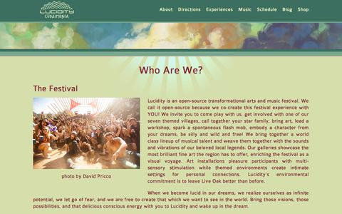 Screenshot of About Page lucidityfestival.com - Who Are We? - Lucidity Festival - captured June 22, 2017