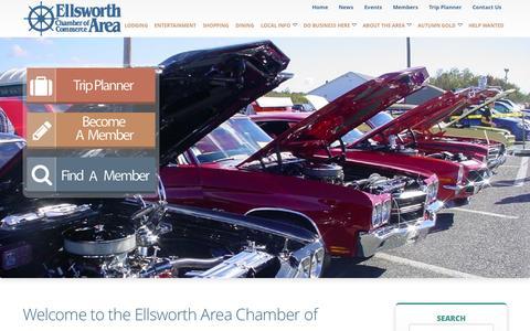 Screenshot of Home Page ellsworthchamber.org - Ellsworth Area Chamber Of Commerce - Ellsworth Maine Chamber of Commerce, Ellsworth Maine Hotels, Ellsworth Maine Real Estate, Restaurants in Ellsworth Maine - captured Sept. 23, 2015