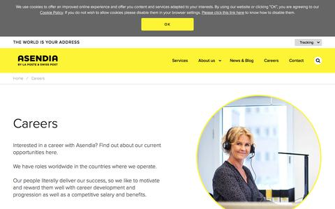Screenshot of Jobs Page asendia.com - Asendia :: Careers - captured July 11, 2018