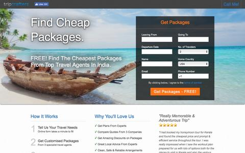 Screenshot of Landing Page tripcrafters.com - FREE! Find The Cheapest Packages From Top Travel Agents In India. - captured Sept. 2, 2016