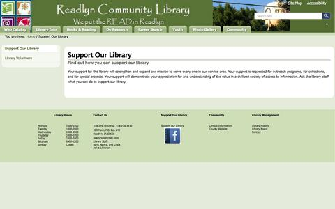 Screenshot of Support Page readlyn.lib.ia.us - Support Our Library — Readlyn Community Library - captured June 23, 2016