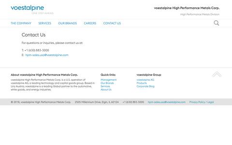 Screenshot of Contact Page voestalpine.com - Contact Us - voestalpine HPM US - voestalpine HPM US - captured Oct. 6, 2018