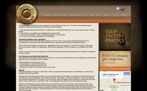 Screenshot of Privacy Page centennialgunclub.com - Centennial Gun Club :: Privacy Policy - captured Sept. 29, 2014
