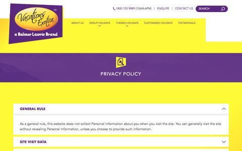 Screenshot of Privacy Page vacationsexotica.com - Vacations Exotica Privacy Policy - captured Nov. 11, 2017