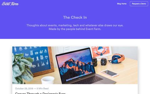 Screenshot of Blog eventfarm.com - Home   The Check In - captured Nov. 4, 2018