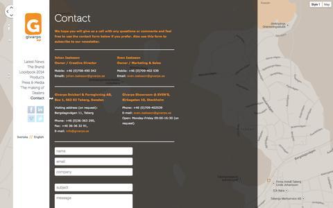 Screenshot of Contact Page givarps.se - ContactKontakt    GivarpsGivarps - captured Oct. 2, 2014