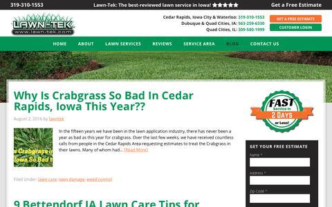 Screenshot of Blog lawn-tek.com - Lawn Care Service Landscaping Blog Tips Maintenance Ideas - captured Oct. 23, 2018