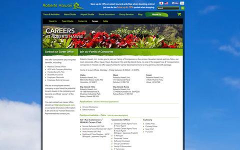 Screenshot of Jobs Page robertshawaii.com - Hawaii Jobs, Career, & Employment Opportunties | Roberts Hawaii - captured Sept. 19, 2014