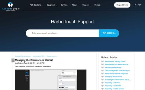 Screenshot of Support Page harbortouch.com - Managing the Reservations Waitlist : Harbortouch Support Center - captured Oct. 9, 2018