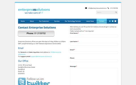 Screenshot of Contact Page enterprise-solutions.ie - Enterprise Solutions Contact Enterprise Solutions - Enterprise Solutions - captured Nov. 8, 2016