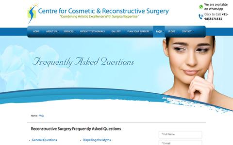 Screenshot of FAQ Page cosmeticssurgerycentre.com - Frequently Asked Questions Mumbai, Cosmetic Surgery FAQ's Gujrat, Reconstructive Surgery Question and Answers Delhi, India - captured Jan. 24, 2016