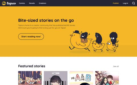 Screenshot of Home Page tapas.io - Tapas: Read and Discover Comics Online - captured July 7, 2019