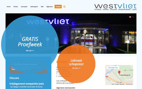 Screenshot of Contact Page westvliet.nl - Contact | Westvliet Fitness- & Racketclub - captured Nov. 9, 2017