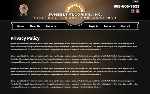 Screenshot of Privacy Page sunbeltflooring.com - Sunbelt Flooring | Privacy Policy - captured Oct. 7, 2014