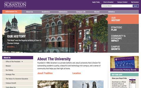 Screenshot of About Page scranton.edu - About Us | The University of Scranton - captured April 7, 2017