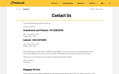 Screenshot of Contact Page primeraair.com - Contact Us - PrimeraAir - captured Nov. 11, 2016