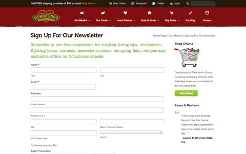 Screenshot of Signup Page corazonas.com - Receive Free Healthy Living Tips from Corazonas | Join the Revolution - captured Sept. 24, 2014